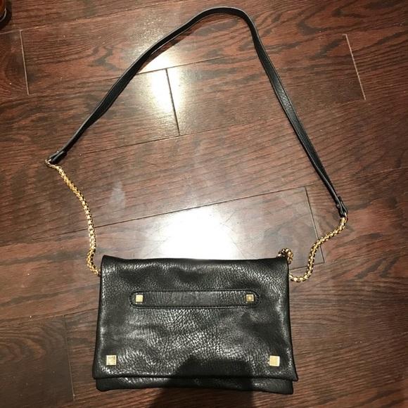 Dynamite Black Faux Leather Crossbody Bag
